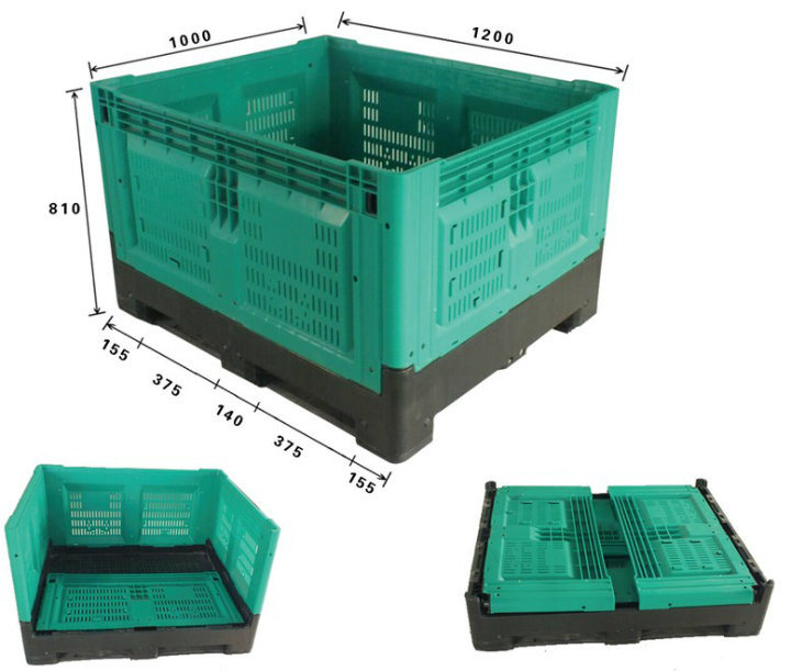 1200*1000*810mm Stackable Plastic Crate Plastic Folding Crate