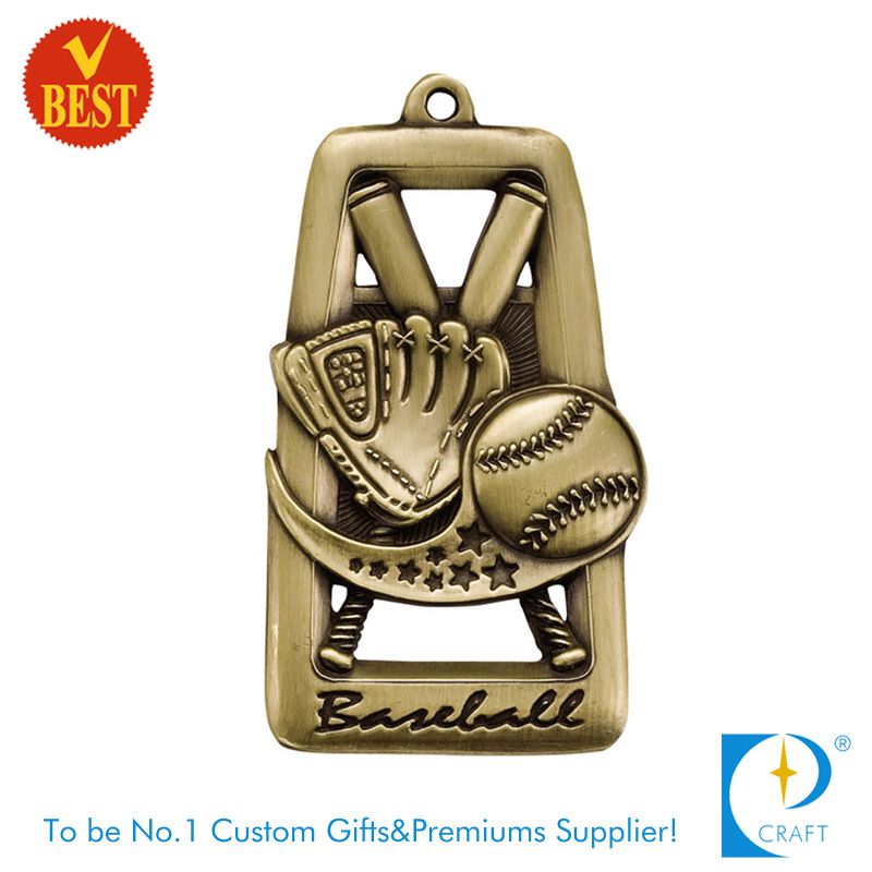 High Quality Custom Copper Stamping Antique Gold Baseball Medal with Hollow out