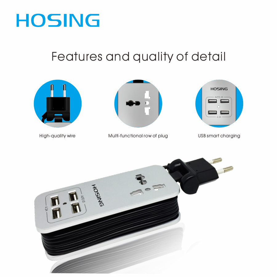 High Quality Multiple USB Ce Universal Power Strip Extension USB Socket