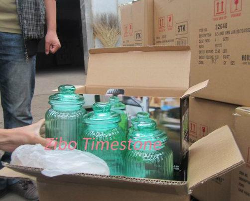 Housewares 3PCS Green Glass Jar Set with Airtight Glass Lid