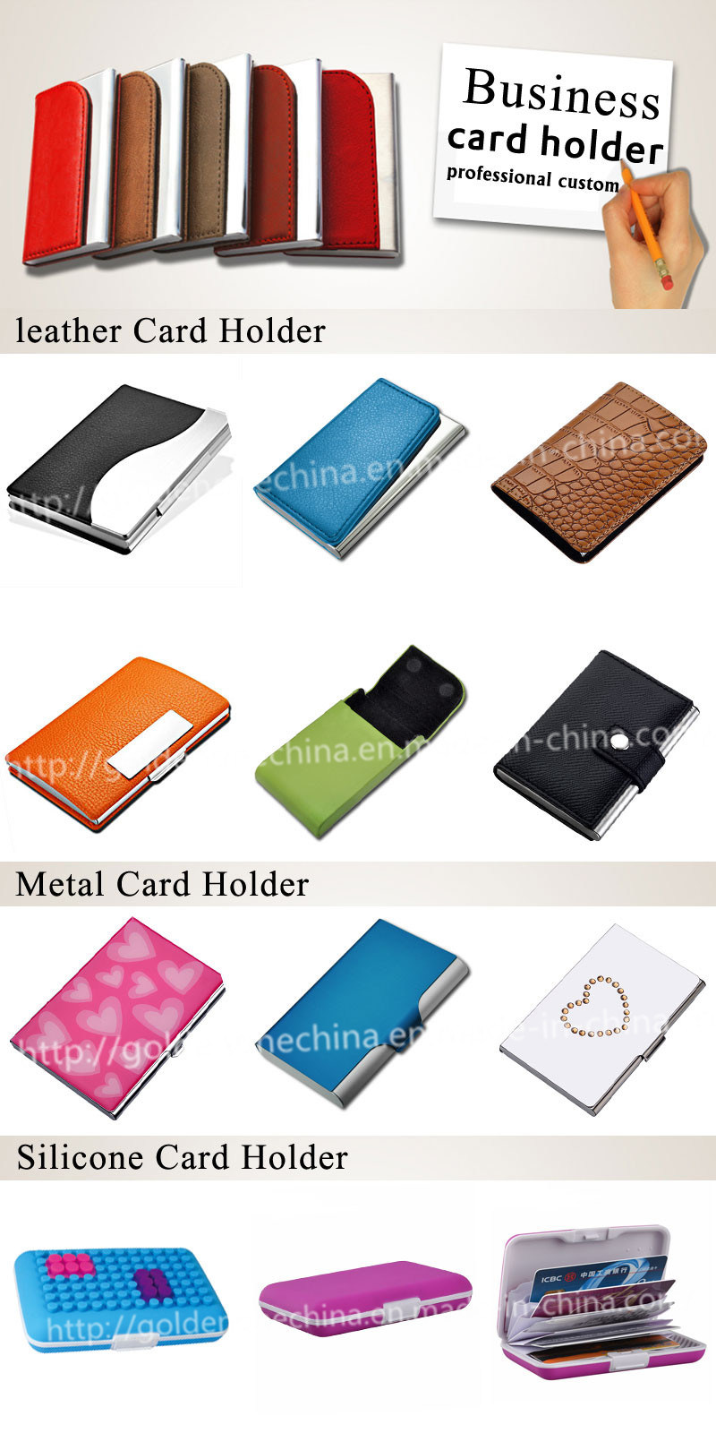 Creative PU Leather & Stainless Steel Business Card Case