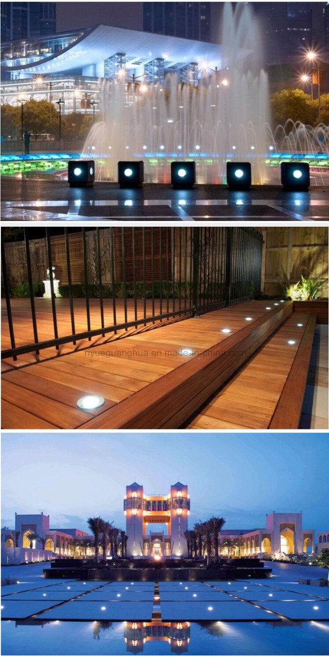 Stainless Steel Round Recessed Underground LED Pave Light Inground Lamp 9W Outdoor (Warm White, Cool White, Red, Green, Blue, Yellow, RGB Color)