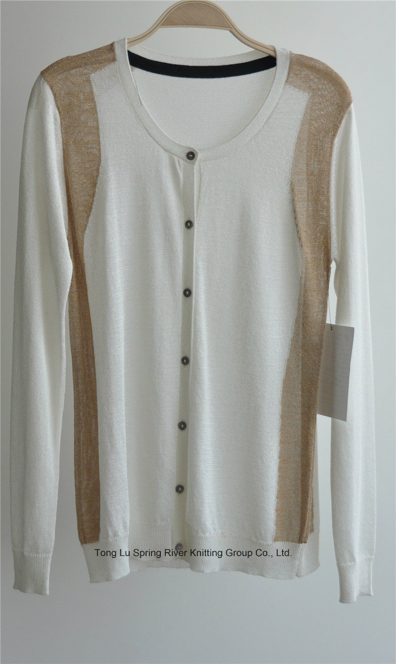 Ladie Round Neck Cardigan Patterned Knitwear with Button
