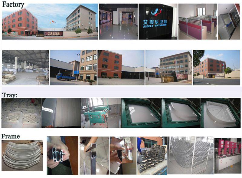 Fabric Glass Grey Aluminum Shower Cabins (ADL-8012B)