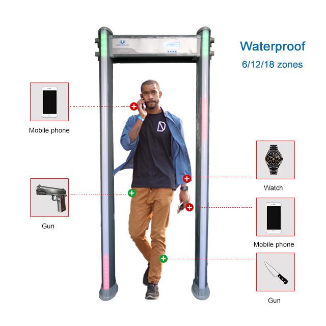 Waterproof 6/12/18 Zones Oudoor Use Sensitivity 256 Walk Through Metal Detector Um600