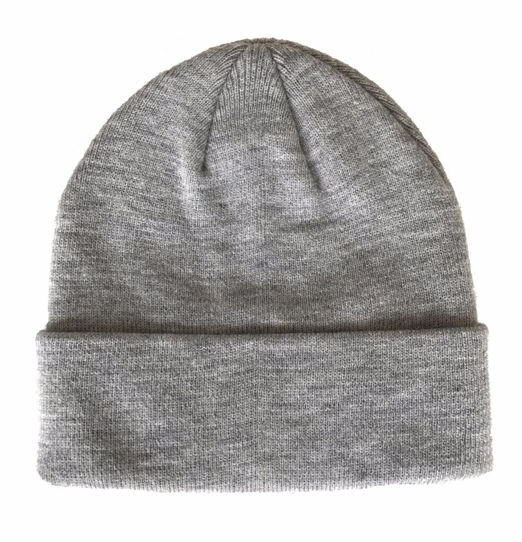 Best Selling Custom Wool Grey Unisex Winter Beanie Hat