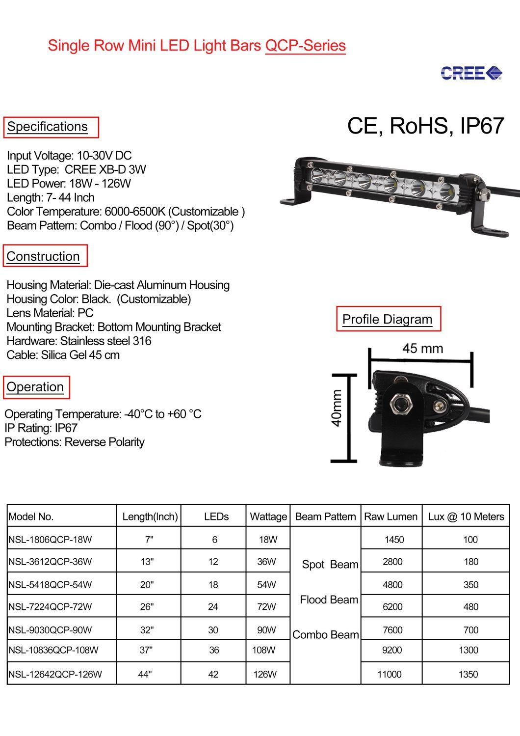 4X4 Vehicle Car Slim LED Light Bar 18W 7 Inch