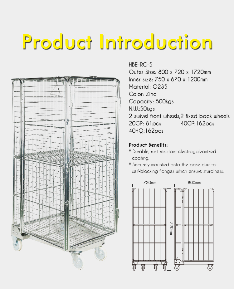 Highbright 4 Sides Folding Nestable Zinc Roll Cage