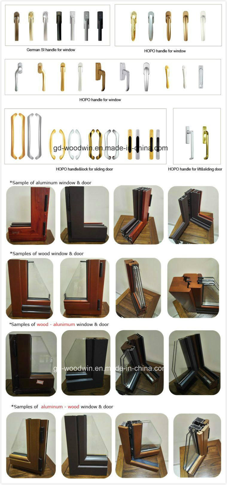 Powder Coated Wooden Color Aluminum Double Glass Window