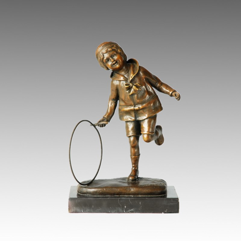 Child Home Deco Cute Boy Bronze Sculpture Statue Tpy-571