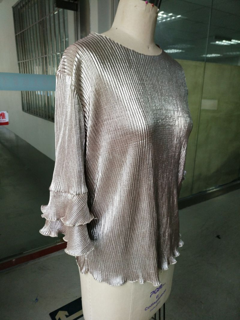 Spring Shiny Pleated Plain Falbala Sleeve Ladies Tops