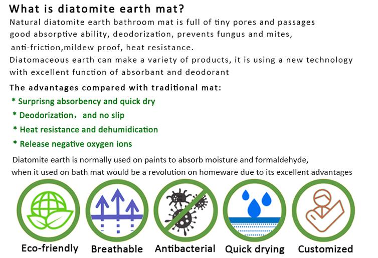 Diatomaceous Earth Bath Mat Foot Mat