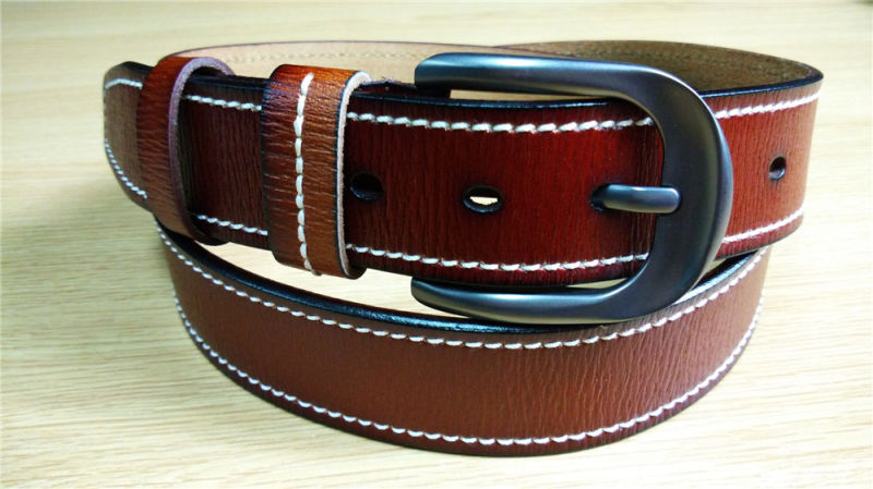 New Fashion Men's Leather Belt with Edge Stitch