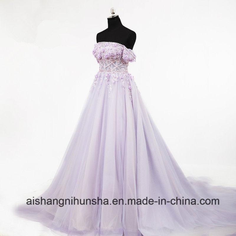 Women Lace Straps Boning Bodice Beading Evening Party Prom Dress