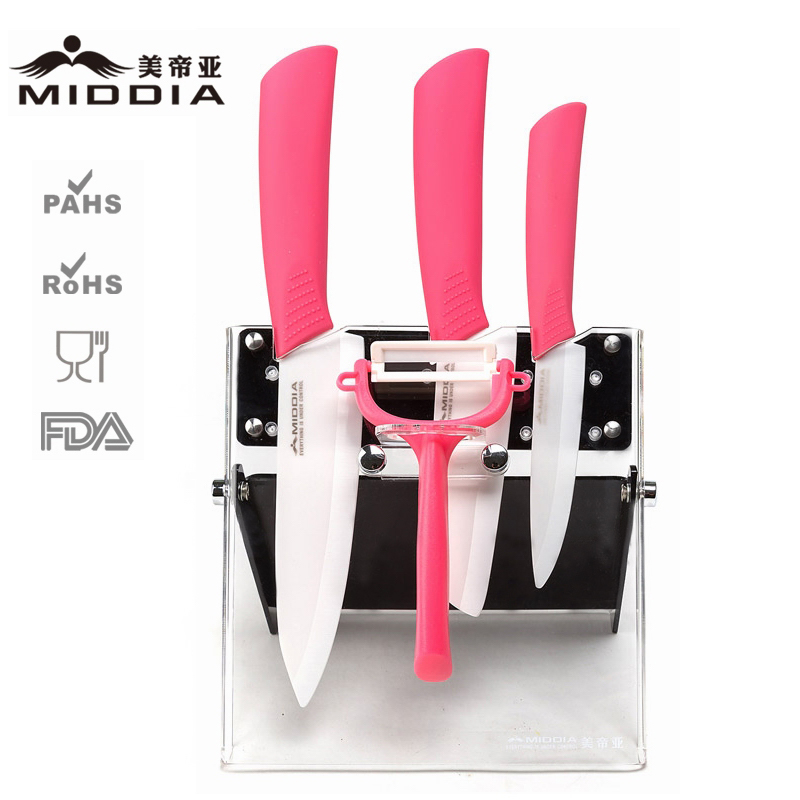 5PCS Ceramic Kitchen Tool Set for Fruit/Chef's Knife/Peeler with Block