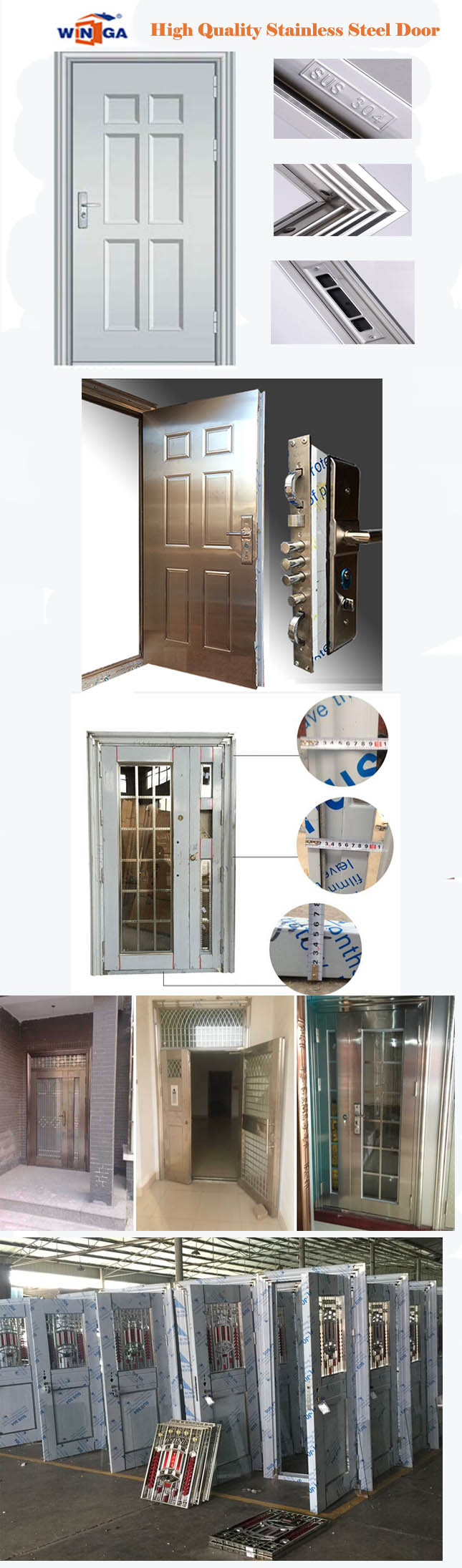 Sunproof Silver Color with Glass Stainless Steel Security Door (W-GH-12)