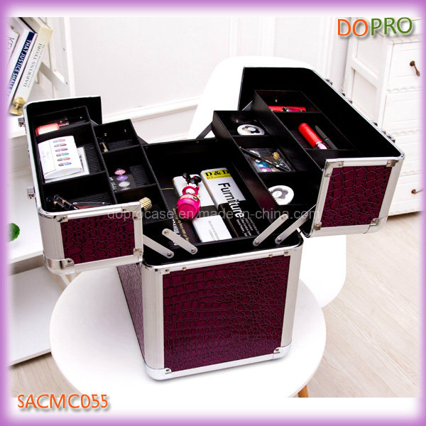 Purple Crocodile Extra Large Makeup Vanity Cases with Plastic Trays (SACMC055)
