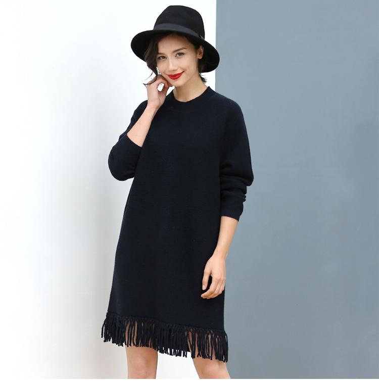 Lady's 100% Cashmere Sweater Lace Hem for Wholesale