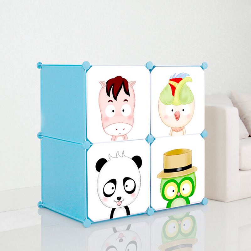 4 Doors Cartoon Plastic DIY Storage Cabinets for Children (ZH001-6)