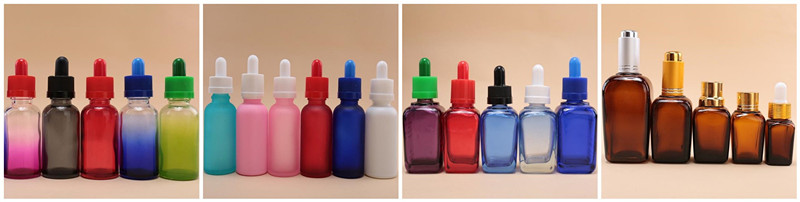 Square Colorful Glass Bottles for Essential Oil, Cosmetic Jar