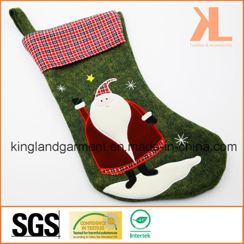 Quality Embroidery/Applique Christmas Decoration Felt Tartan Santa Style Stocking