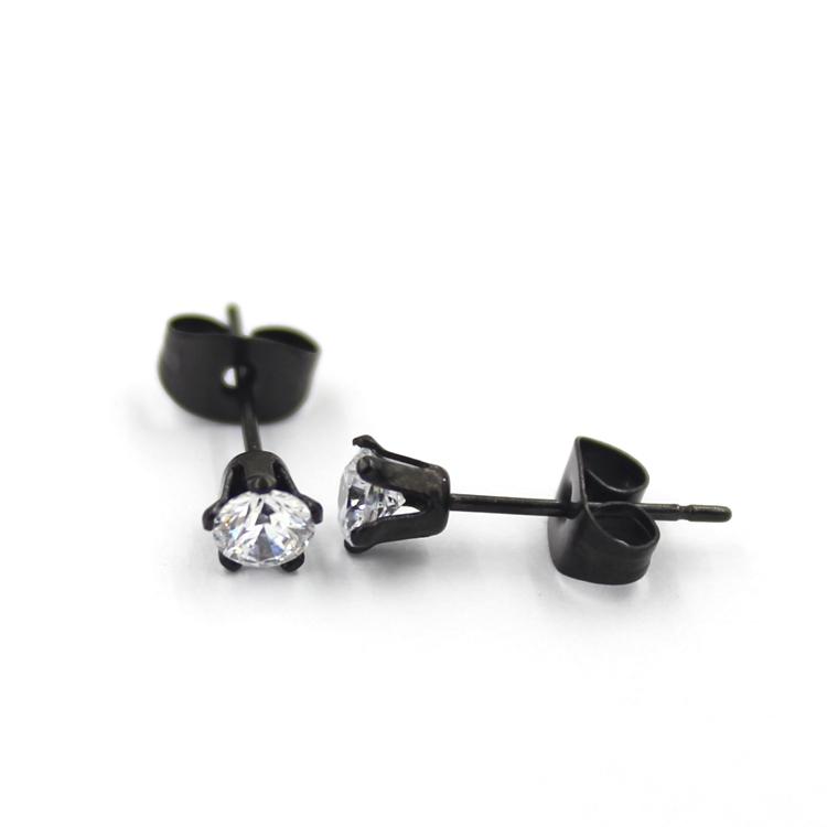 Fashionable Black Multishape Plated CZ Diamond Stud Jewelry Earrings