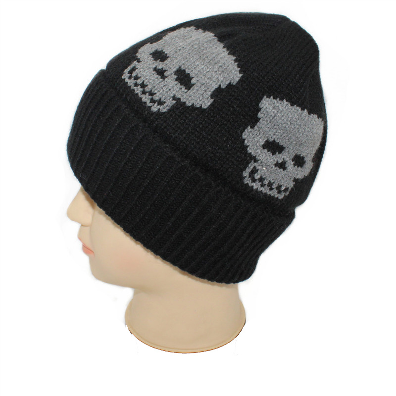 Mens Soft Stretch Slouch Wool Winter Knitted Skull Jacquard Warm Cap Beanie Hat (HW427)