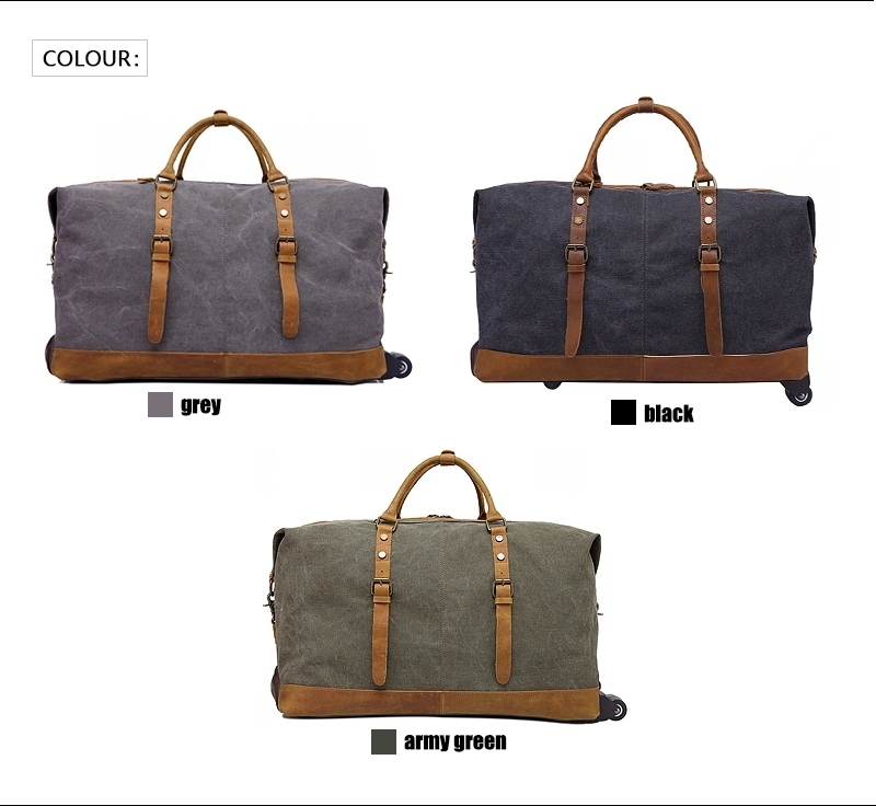Outdoor Canvas Leather Portable Travel Trolley Luggage Duffle Bag