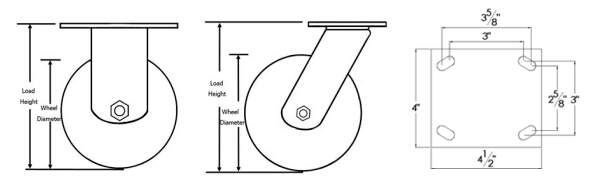Heavy Duty Swivel Cast Iron Wheels