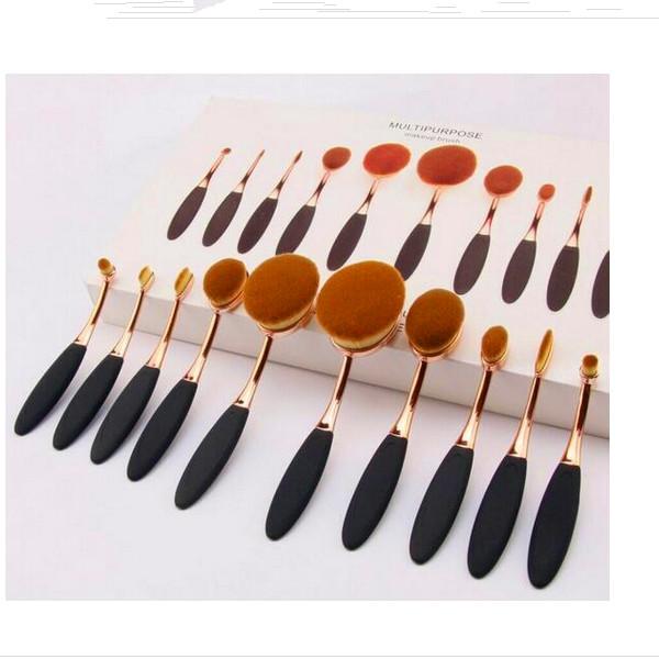 OEM Logo Package Toothbrush Makeup Brush Tools Set 10PCS Oval