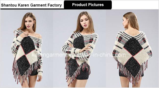 Lady Hairy Long Sleeve Tassels Geometric Pattern Knit Poncho Sweater