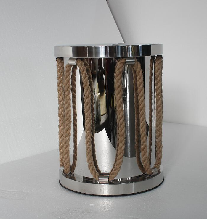 Plating Gold Color Stainless Steel with Hemp Rope Round Coffee Table Side Table
