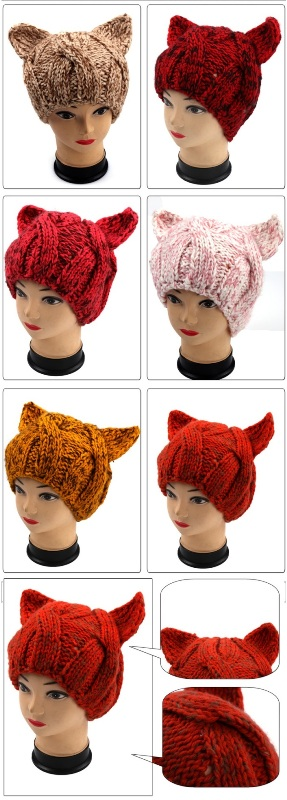 Hand Knit Evil Cat Ear Hat, Hand Knit Animal Hat