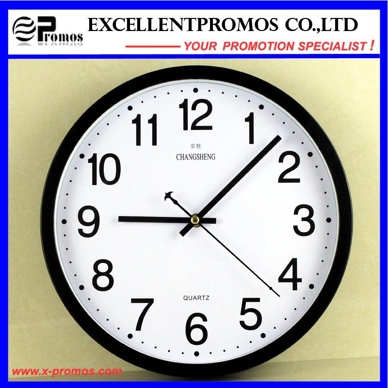 Gold Frame Logo Printing Round Plastic Wall Clock (Item12)