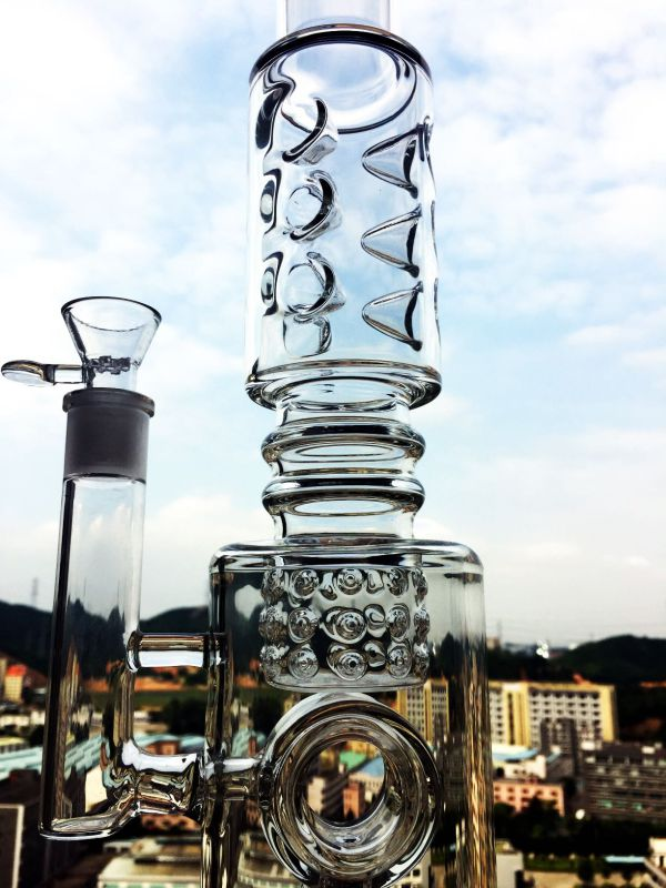 23 Inche K42 Roor 3 Honeycomb and Birdcage Percolator Glass Pipe, Smoking Water Pipe