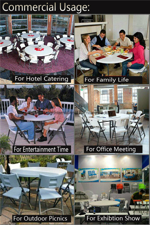 China Wholesale 5FT 60inch Round Plastic Folding Dining Table for Events, Wedding, Banquet, Party, Barbecue, Camping, Picnic, Catering