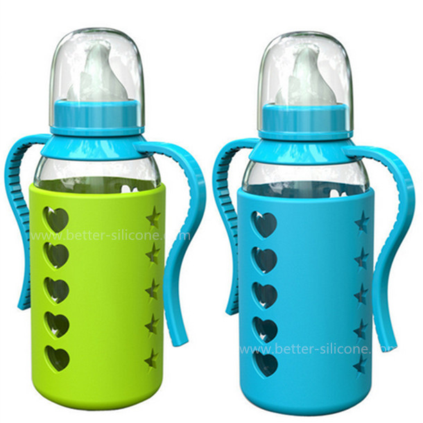 Custom BPA-Free Anti-Slip Silicone Glass Baby Bottle Sleeve