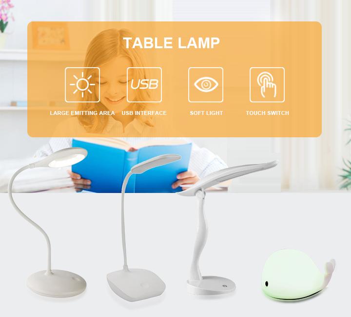 3.7V/1200mAh LED Rechargeable Table Lamp Desk Lightinng for Reading