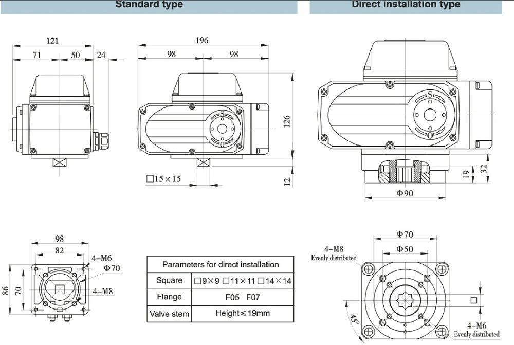 Electric Actuator Rotary Motor Control Valve