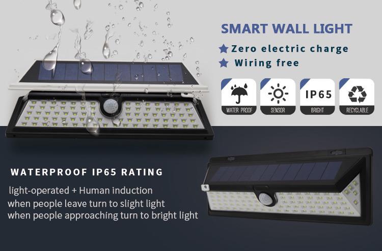 Night Lighting Exterior Emergency Motion Sensor Energy Power Design Surface Solar Lamp Waterproof LED Wall Mounted Light Outdoor
