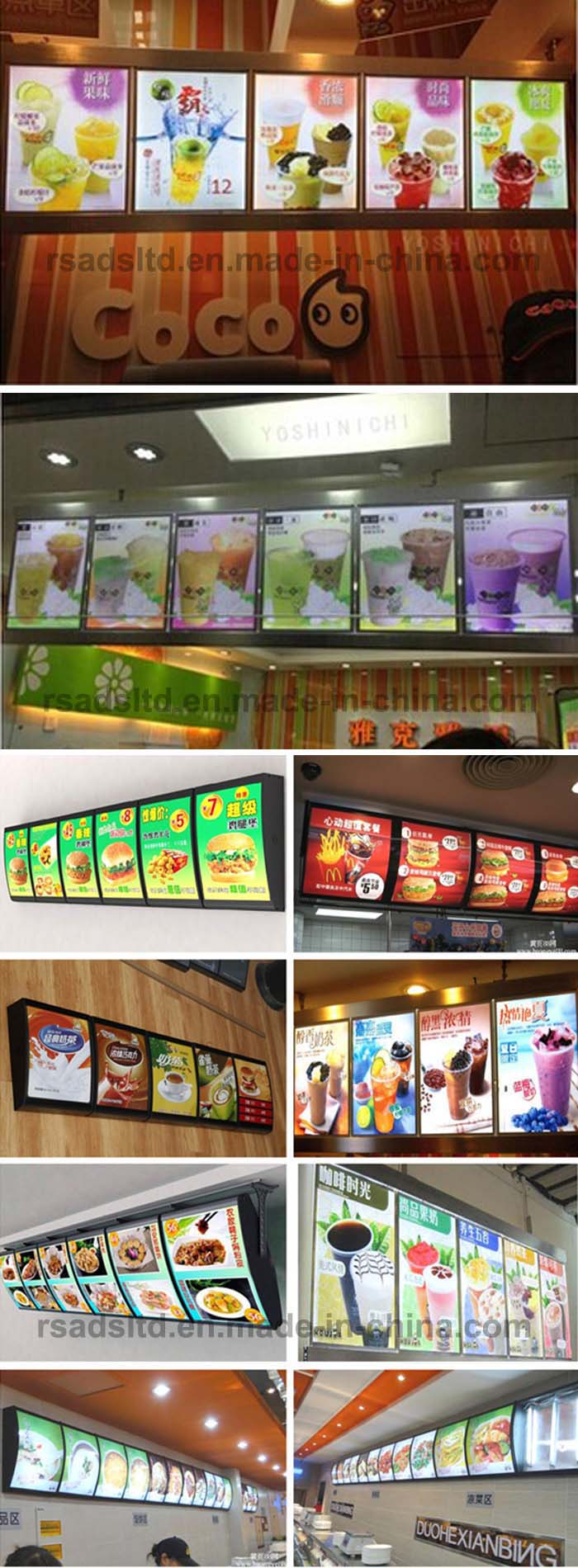 Custom Hanging Advertising Menu Board Frame for Fast Food Restaurant