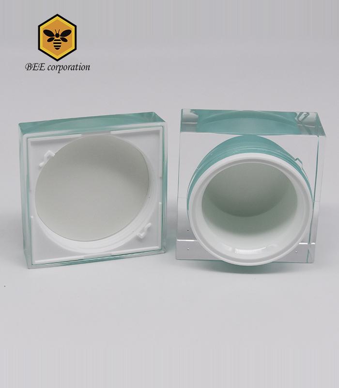 Unique Square Plastic Acrylic Cosmetic Cream Jar (CJ-30)