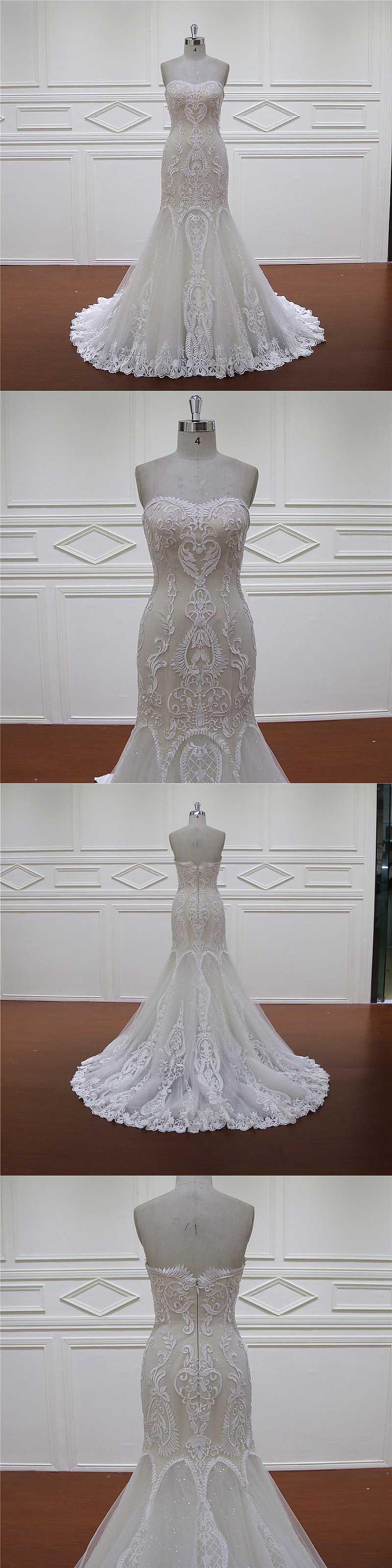 off Shoulder Sweetheart Crystal Beading Champagne Mermaid Bridal Dress
