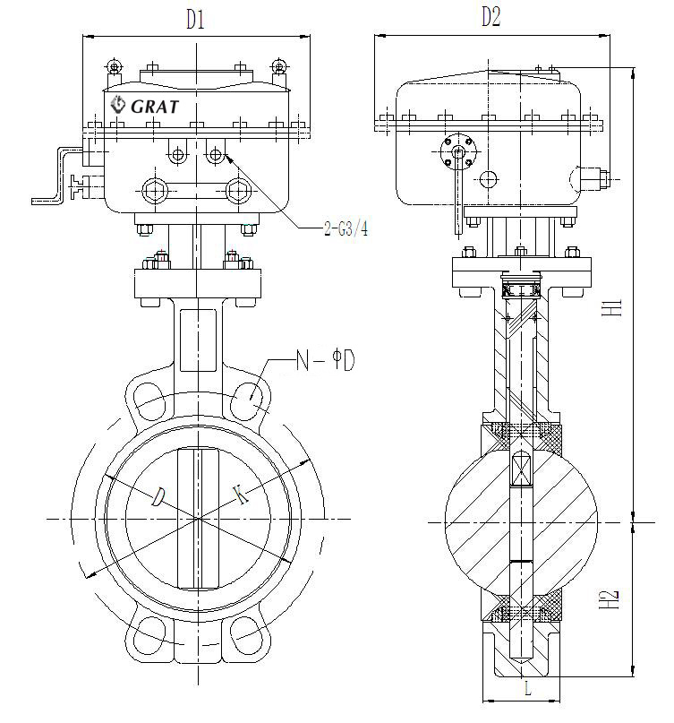 Dn200 Wcb Wafer Connection Motorized Butterfly Valve