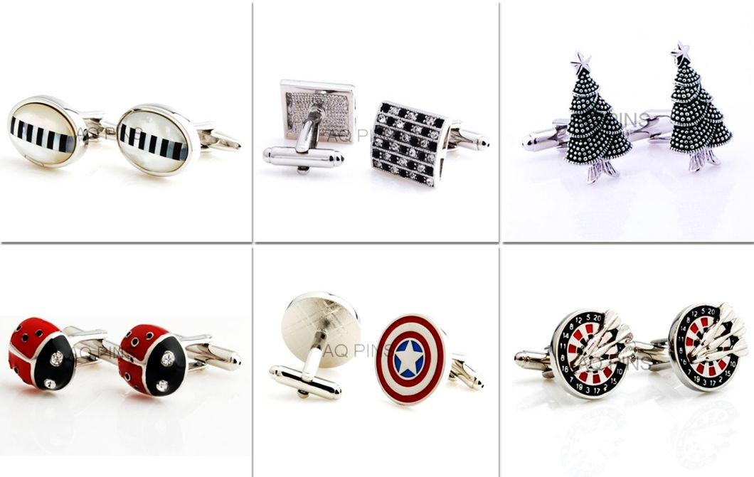 Customized Clothing Accessories Engraved Metal Craft Cuff Link (016)