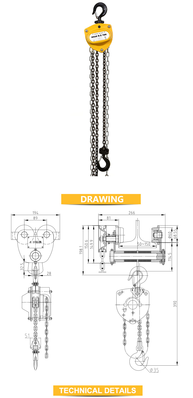 500kgs Manual Chain Hoist Chain Block (VD-0.5T)