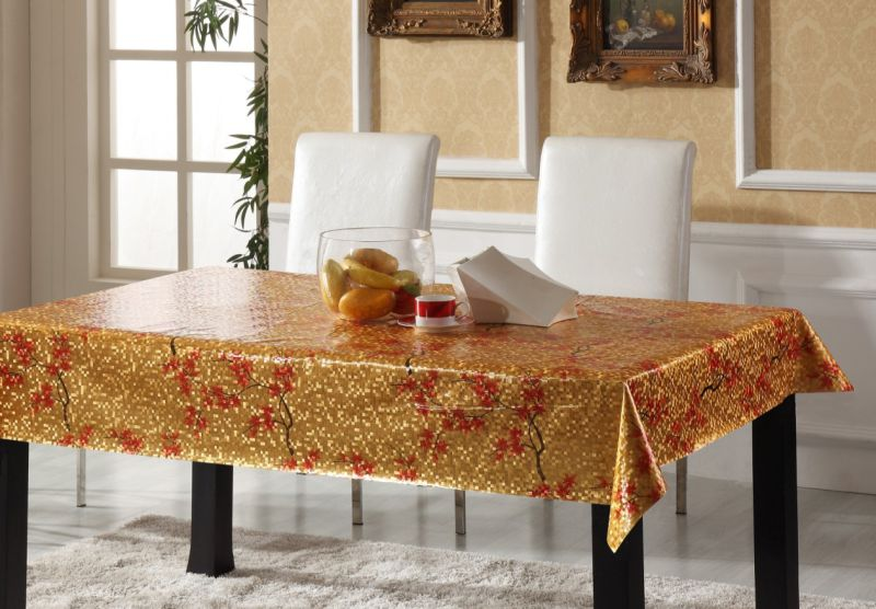 Popular Design Embossed Grain PVC Printed Tablecloth Wholesale Factory