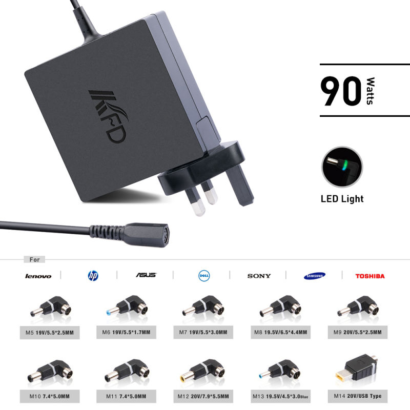 New 90W Universal Laptop Adapter PC Power Supply for Lenovo, Asus