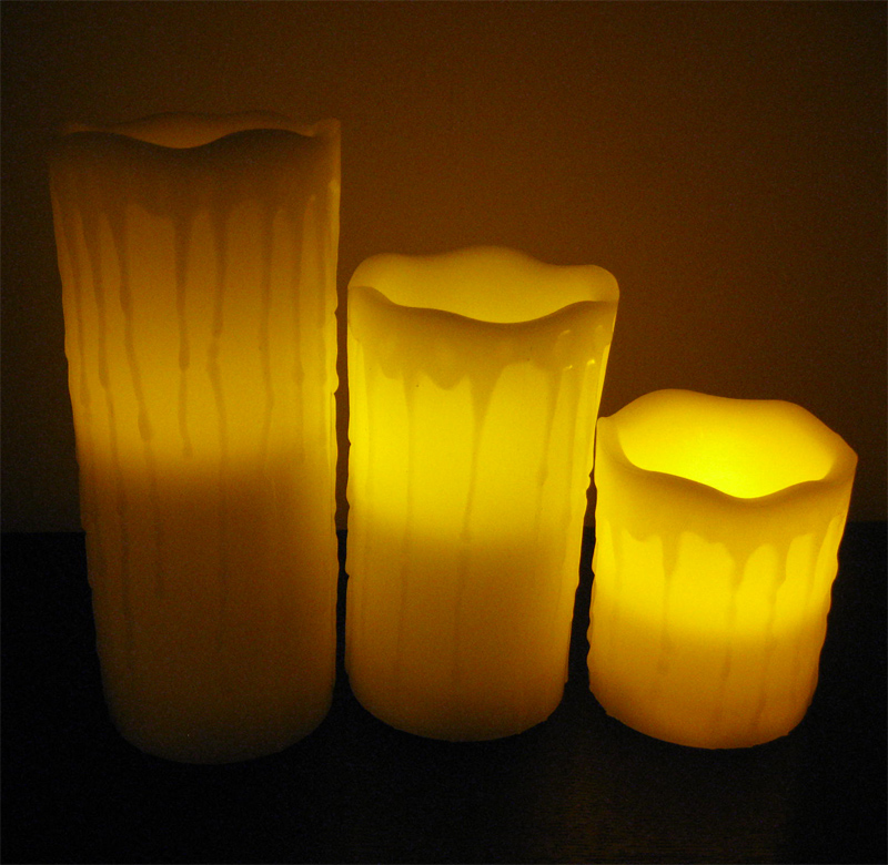 Flameless Colorful LED Candle-Dripping Finish and Remote Control Function