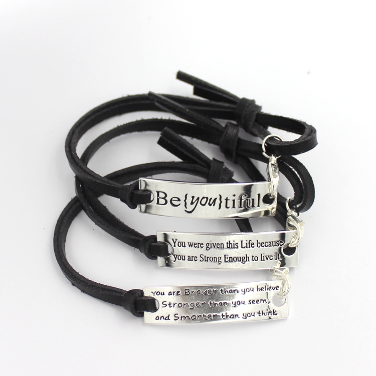 Silvering Silver Customerized Leather Fashion Jewelry Bracelet